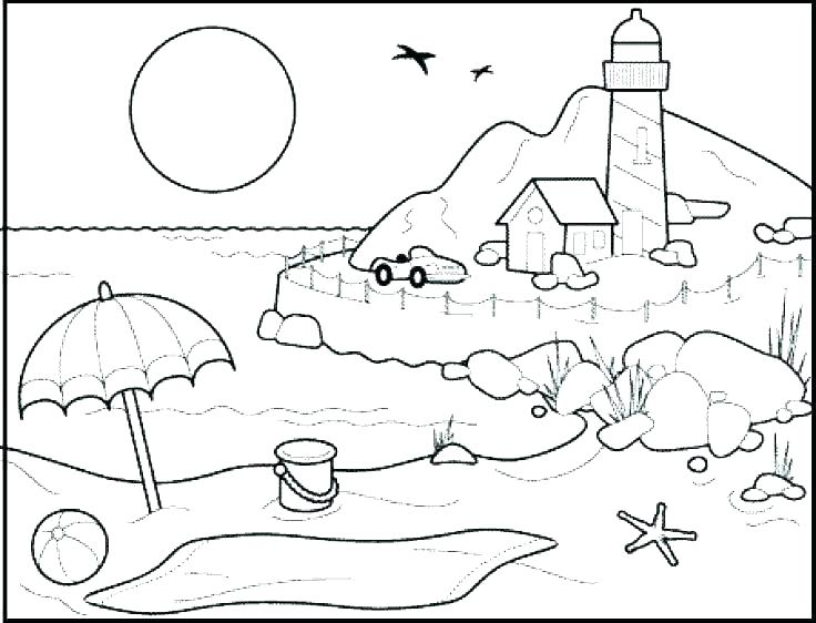 736x562 Beach Color Pages Beach Scene Coloring Pages Beach Coloring Pages