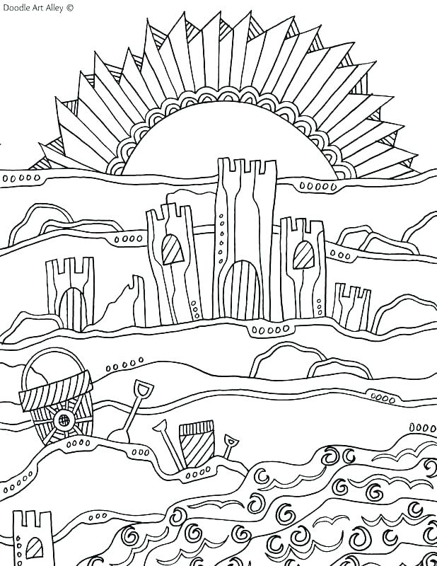 618x800 Beach Scene Coloring Pages