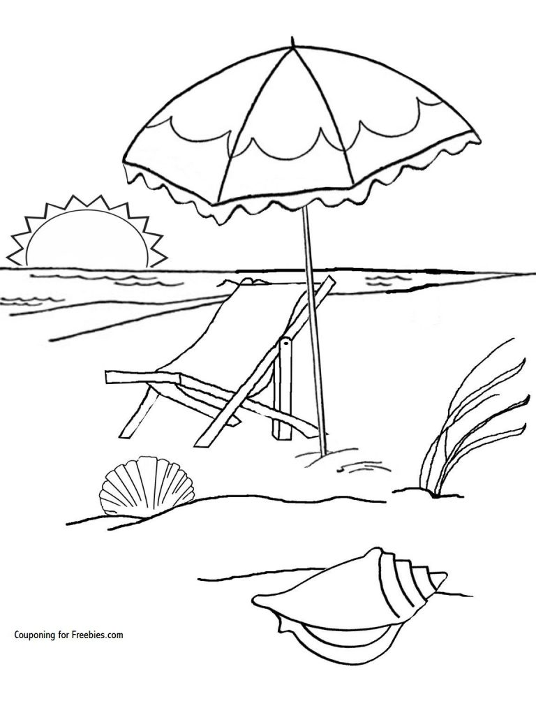 768x1024 Coloring For Kids Childrens Pages Beach Free Umbrella Preschool
