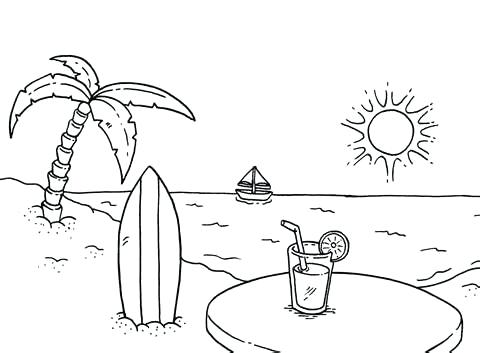 480x353 Coloring Pages Of The Beach Beach Coloring Pages For Adults