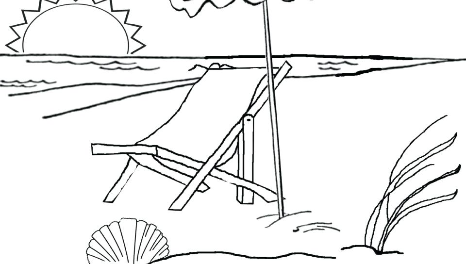 960x544 Free Coloring Pages Beach Umbrella Colouring Scene Ball Wonderful