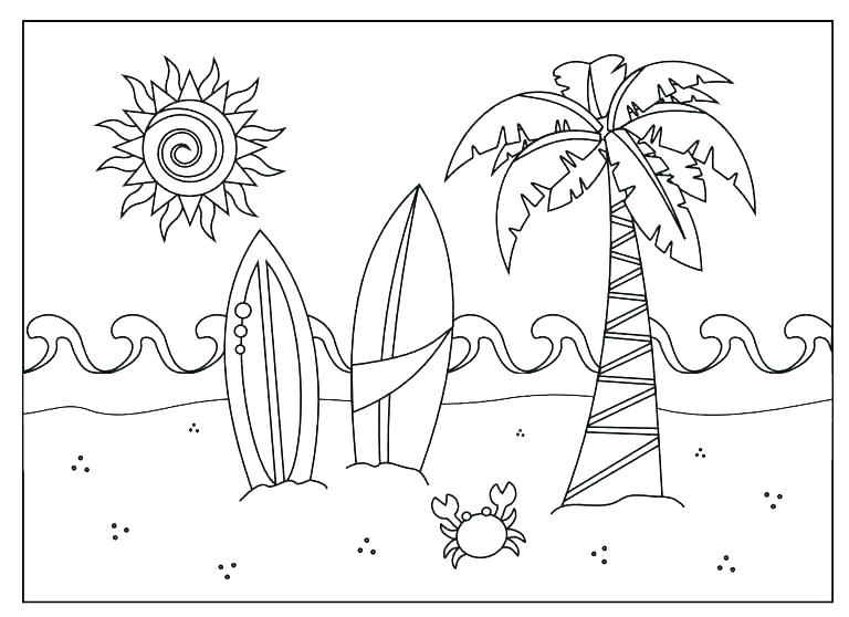 768x558 Kid Free Puzzles Beach Coloring Pages Beach Scene Coloring Page