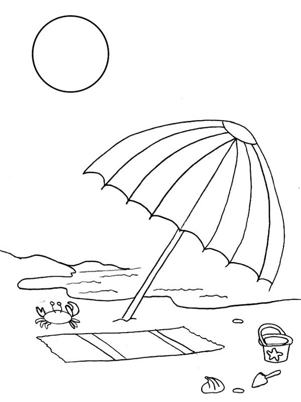 600x800 A Kids Drawing Of Beach Umbrella Coloring Page