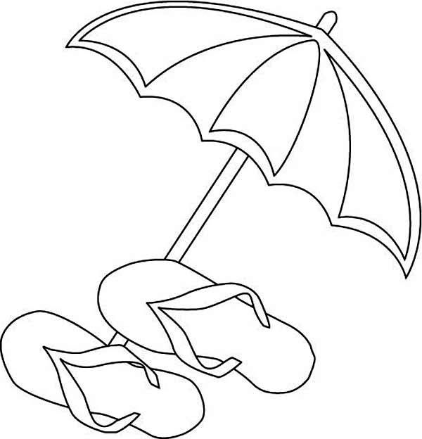 600x624 Beach Umbrella And Flip Flops Coloring Page Cute Drawings