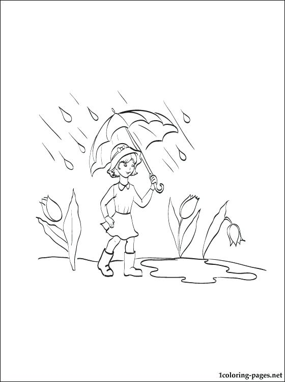 560x750 Girl With An Umbrella In The Rain Coloring Page Coloring Pages