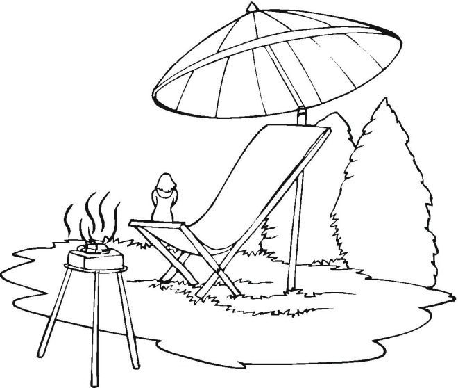 660x558 Lounge Chair Beach Umbrella Coloring Page Coloring Pages, Clip