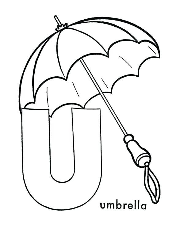 600x734 Umbrella Coloring Sheet Capital Letter U Is For Umbrella Coloring