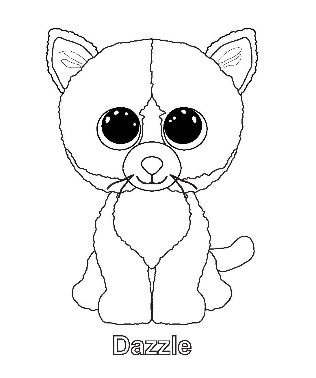 1094x1310 Dazzle Cat Beanie Boo Coloring Page