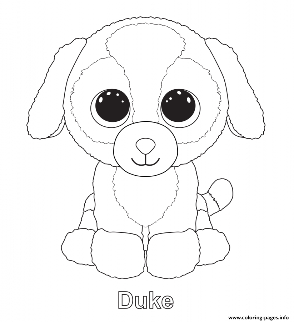 937x1024 Beanie Boo Coloring Page Simple Duke Pages Printable With Regard