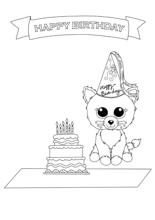 500x707 Beanie Boo Coloring Pages Birthday Cat Beanie Boo Coloring