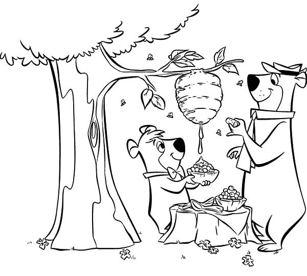 600x540 Yogi Bear Coloring Pages