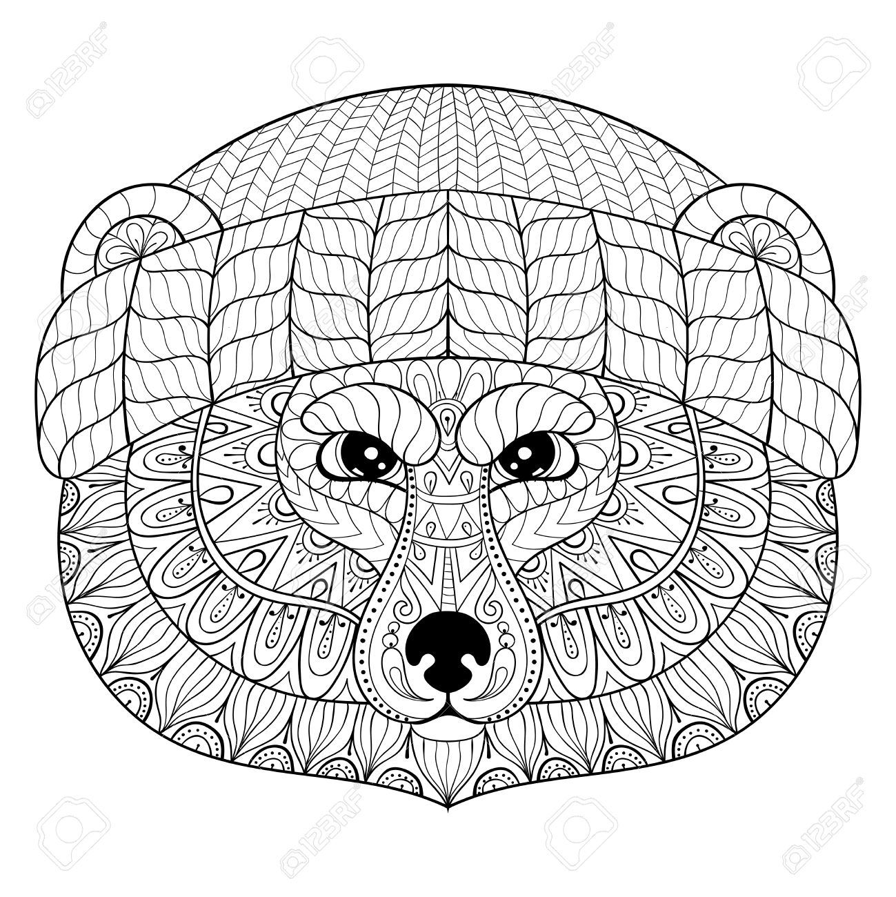 1299x1300 Adult Coloring Pages Bear Faces Free