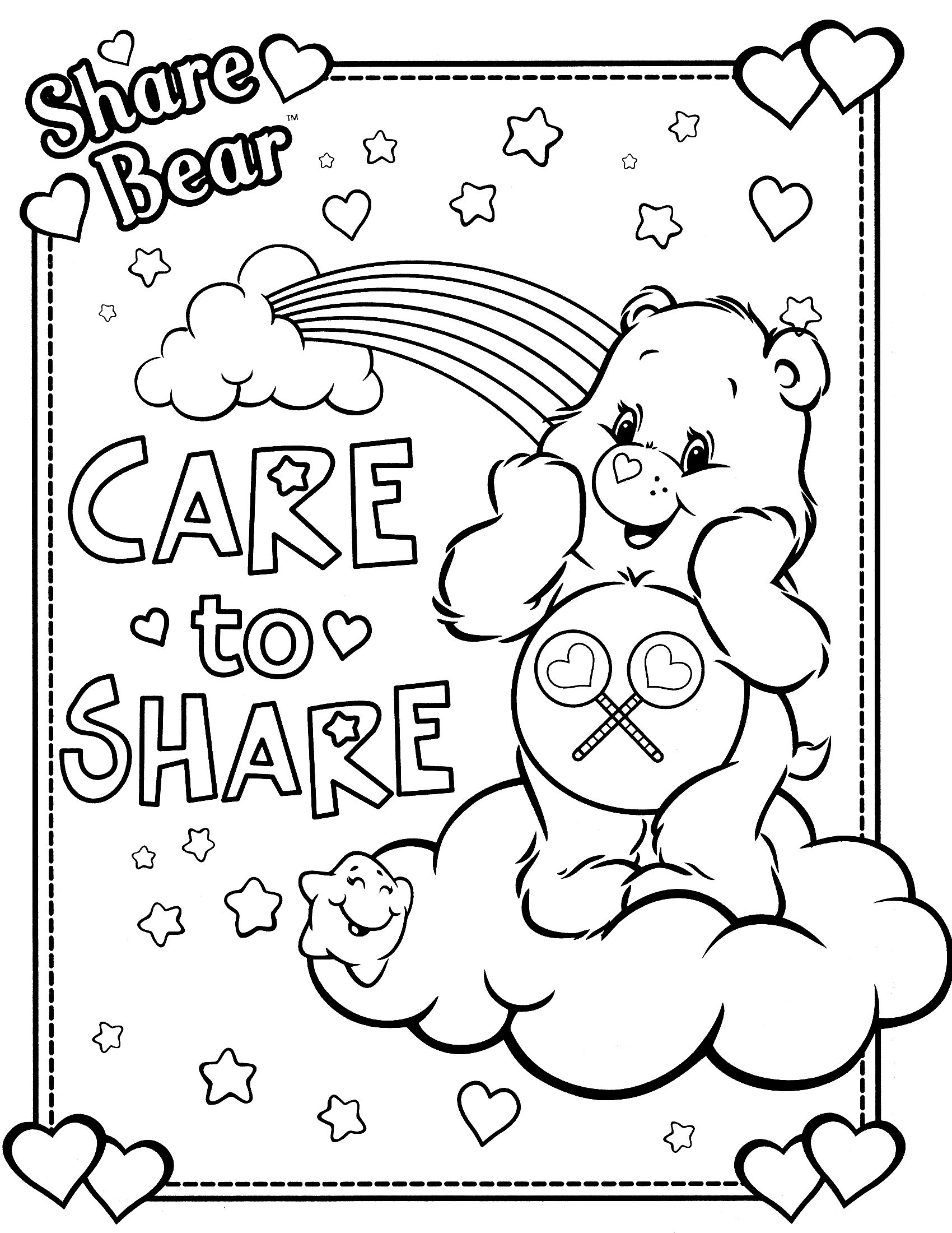 1700x2200 Awesome Care Bear Coloring Pages Preschool In Snazzy Care Bears