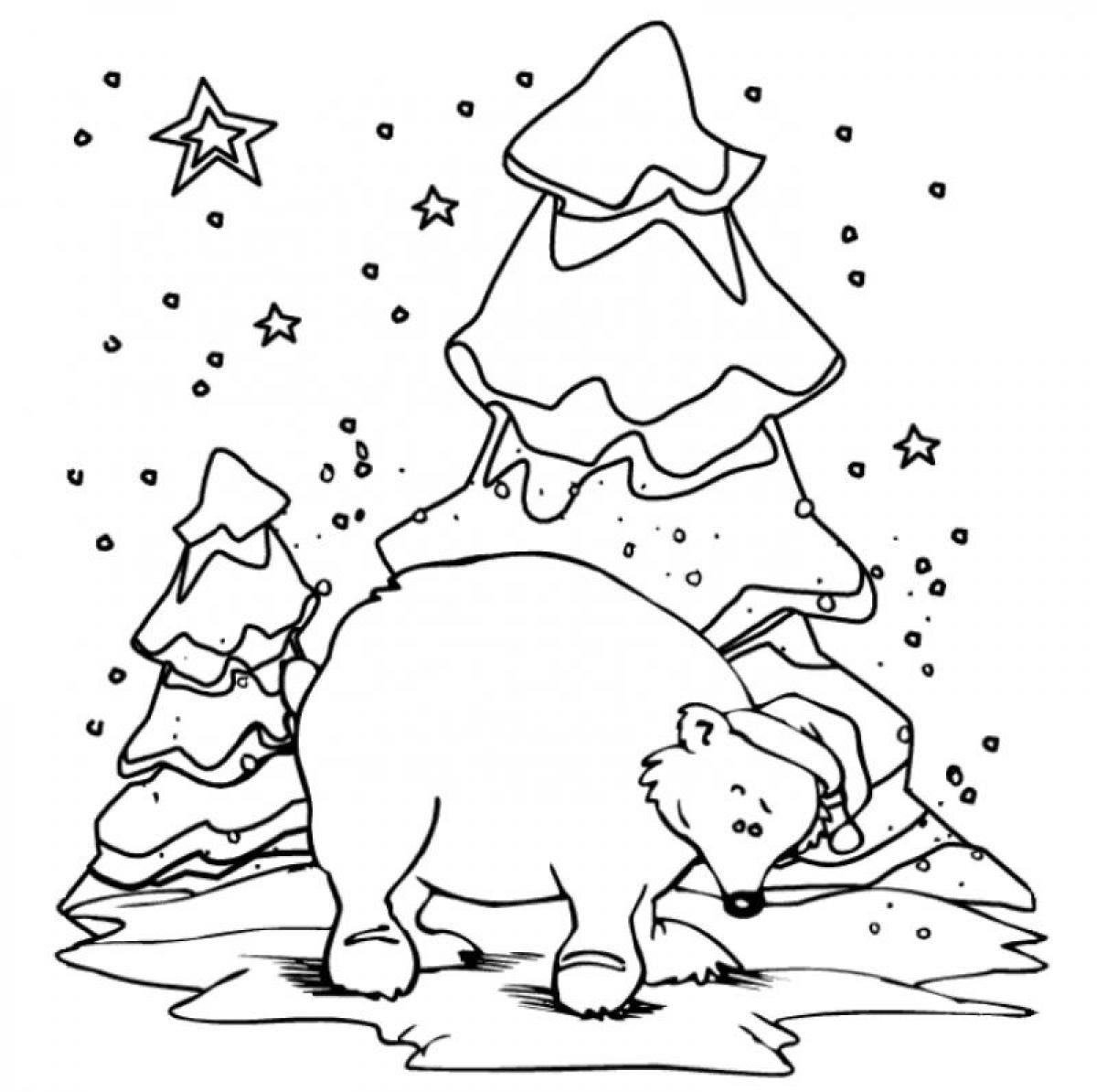 1200x1194 Christmas Polar Bear Coloring Pages Printable Coloring For Kids