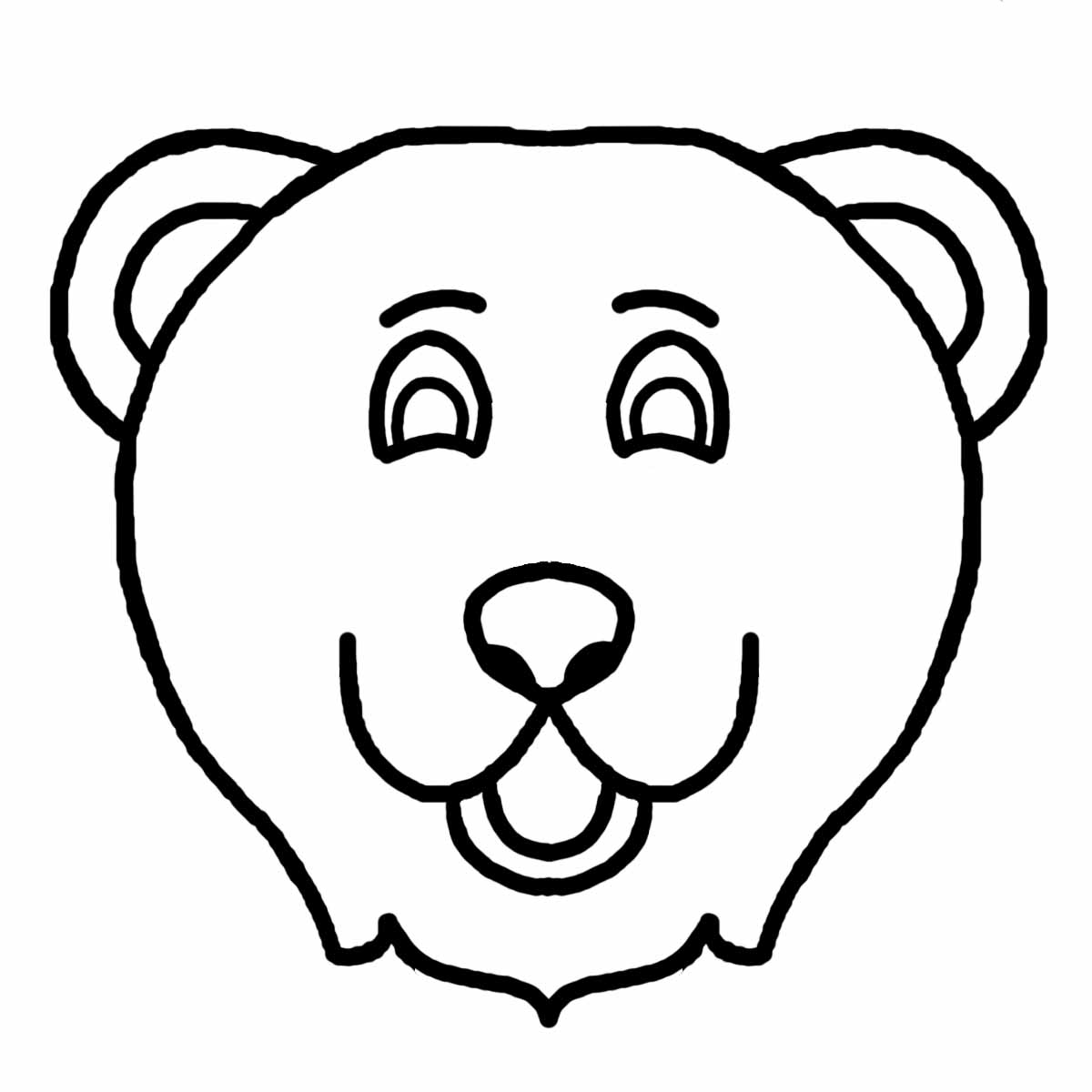 1200x1200 Bear Face Coloring Page