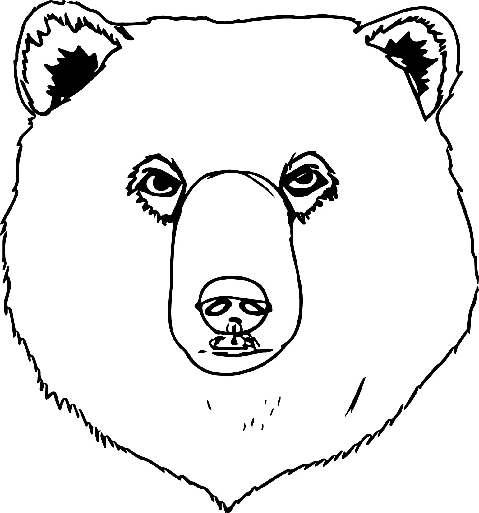 1541x1650 Bear Face Coloring Page Bear Big Face Coloring Page