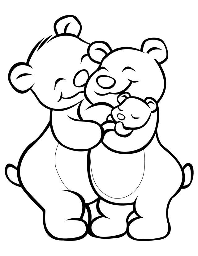 640x828 Cartoon Coloring Pages Bear Family Free Printable, Bears And Free
