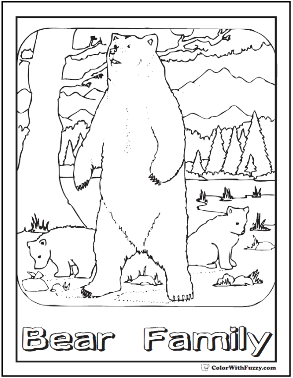 590x762 Bear Family Coloring Page