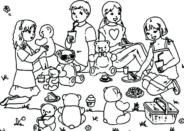 600x427 Bear Family Coloring Pages Picnic Coloring Page Coloring Pages