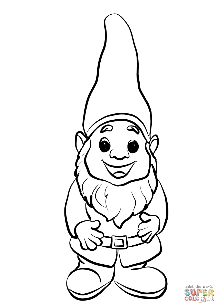 857x1200 Garden Gnome With Fluffy Beard Coloring Page Free Gnomeo Best