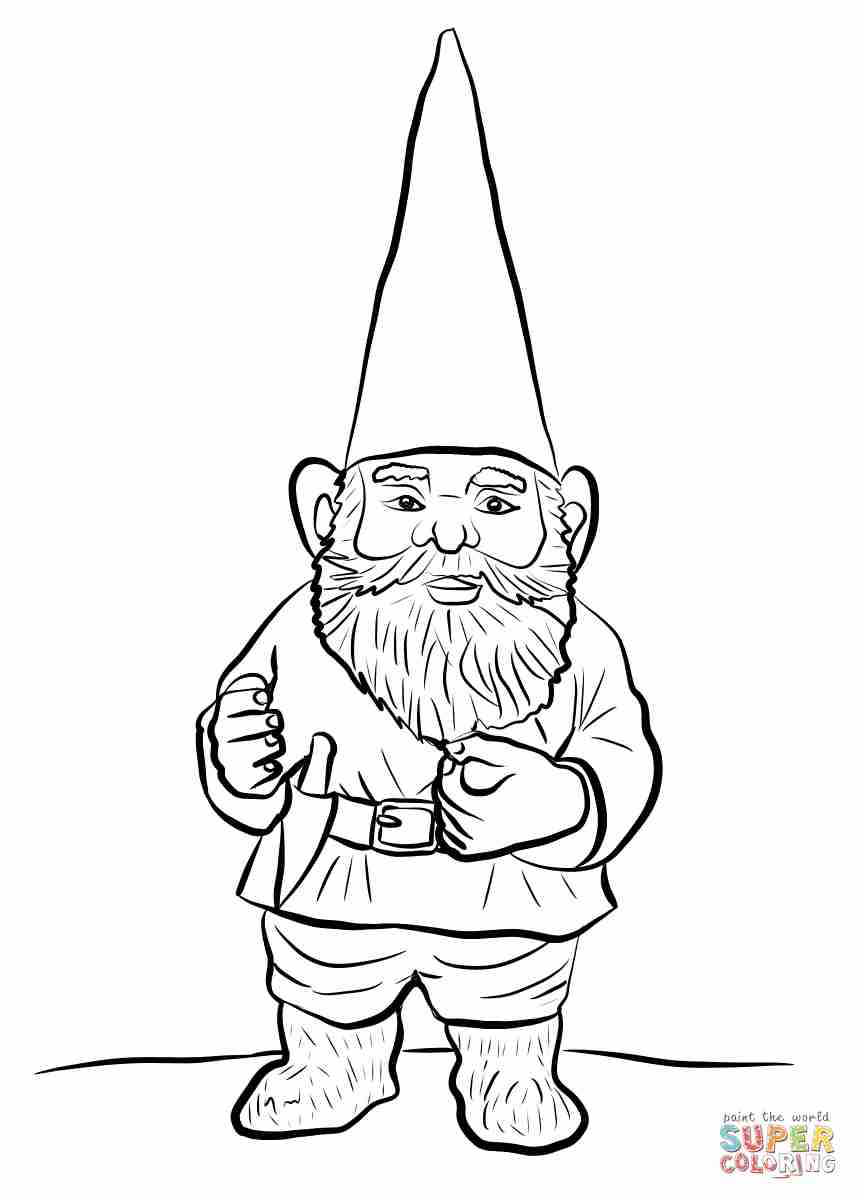 858x1200 Garden Gnome With Fluffy Beard Coloring Page Free Gnomeo Within