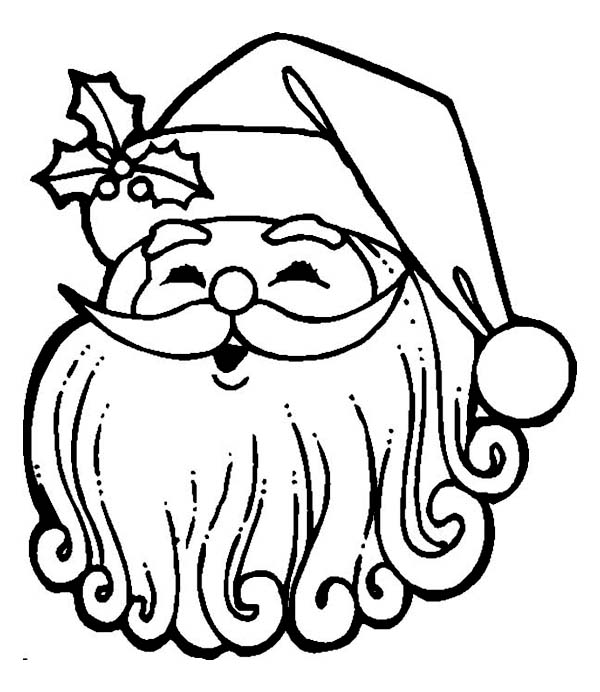 600x692 Happy Santa With Curly Beard Coloring Page