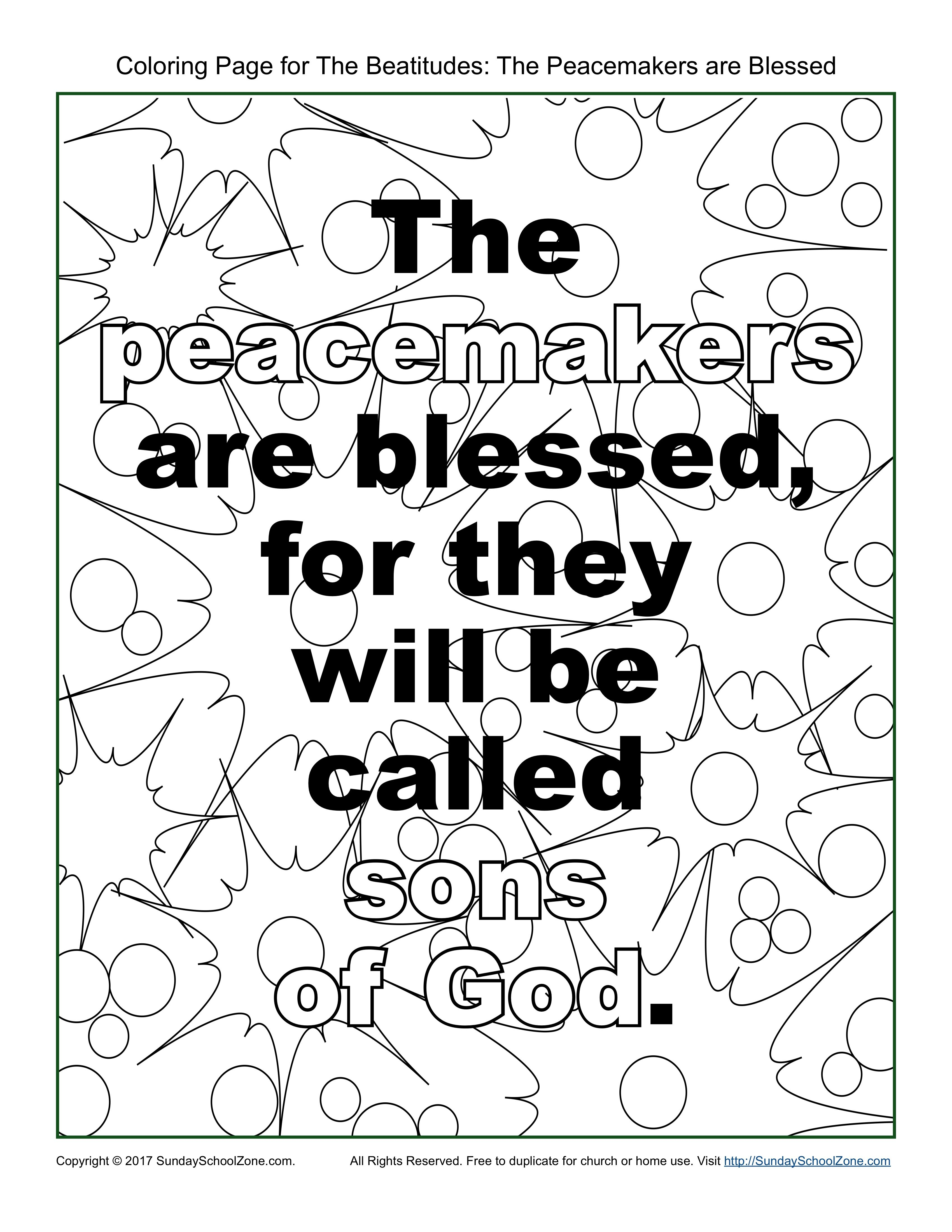 3400x4400 Peacemakers Beatitudes Coloring Page On Sunday School Zone