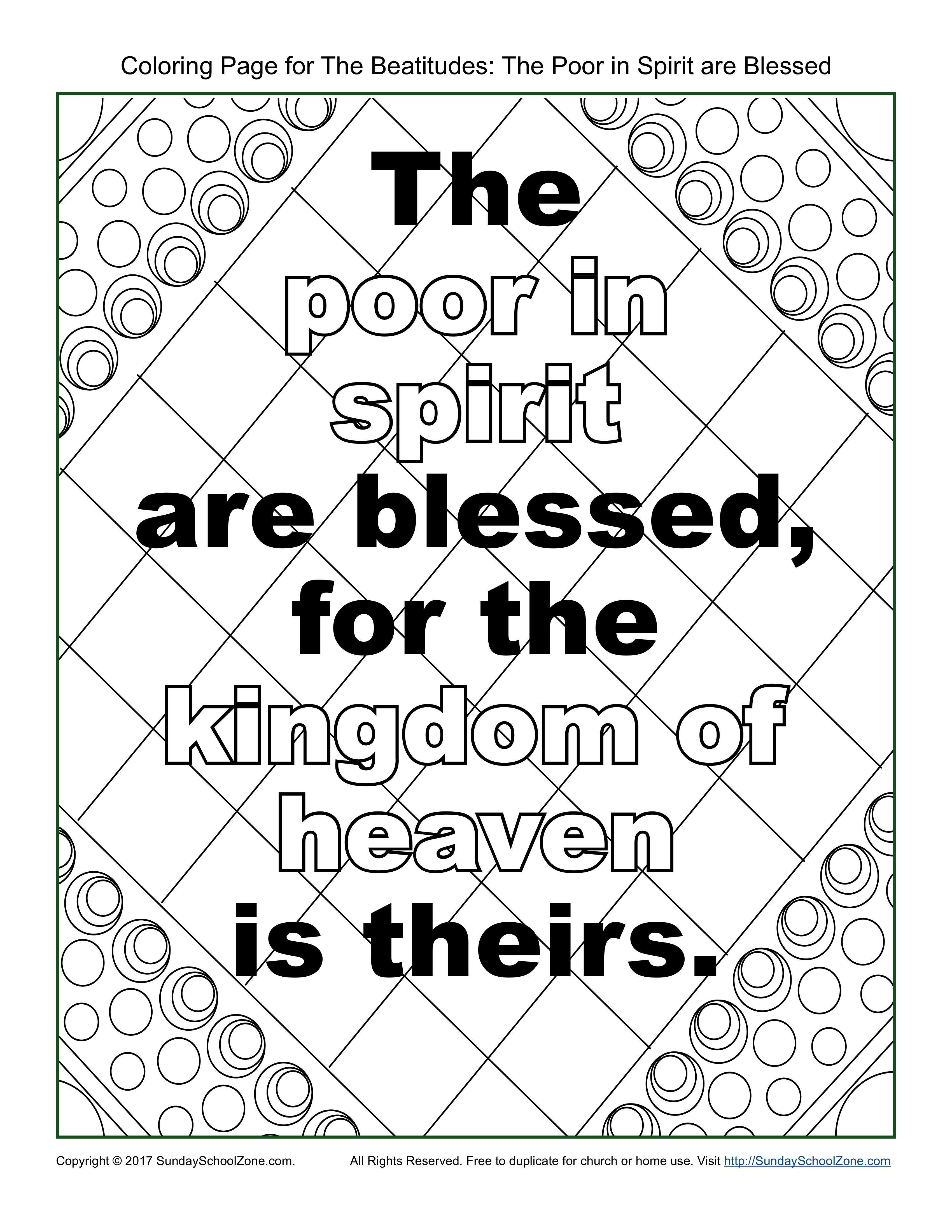 3400x4400 Poor In Spirit Beatitudes Coloring Page On Sunday School Zone