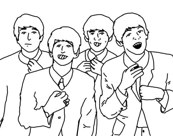 600x471 The Beatles Singing Together Coloring Pages Batch Coloring