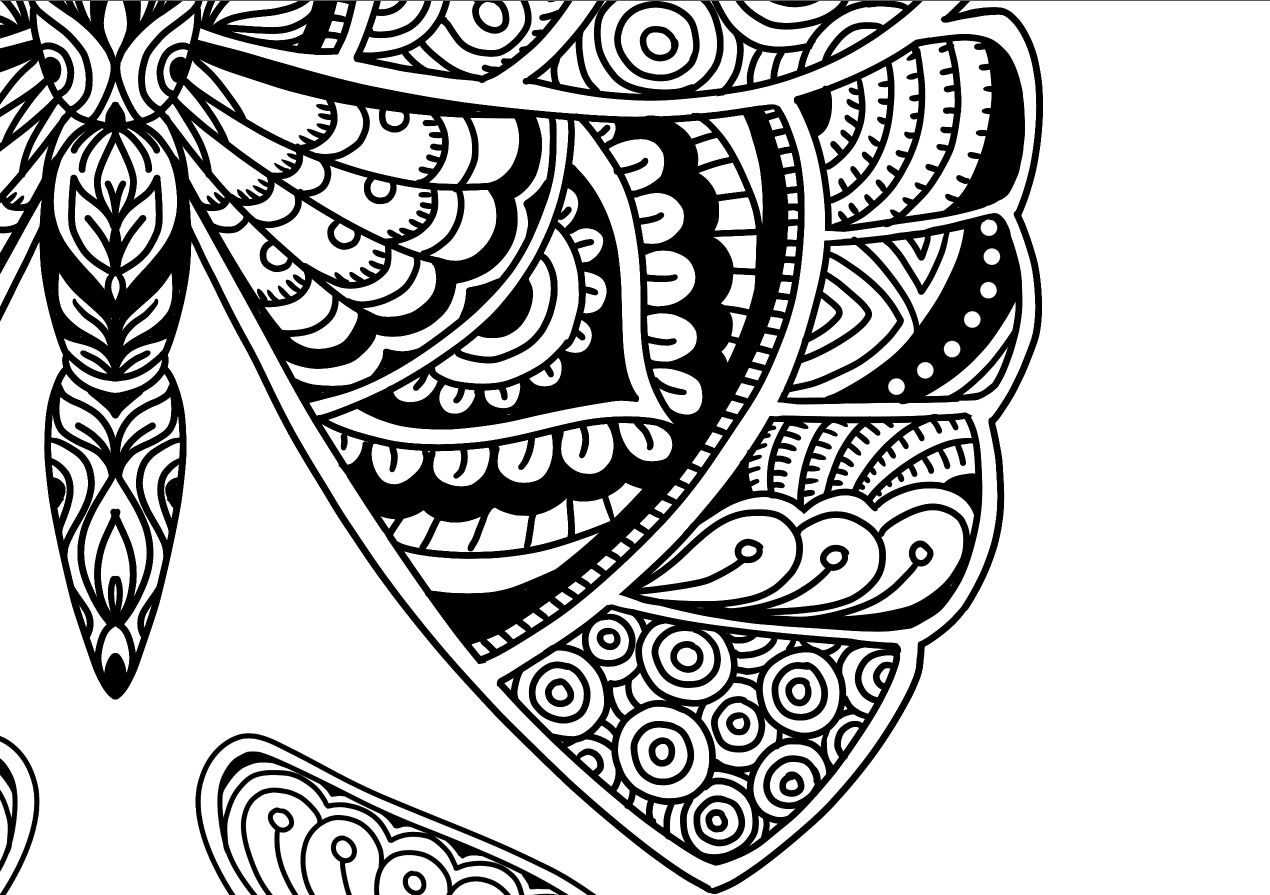 1270x895 Beautiful Butterfly Doodle Art Adult Coloring Page Karyn Lewis