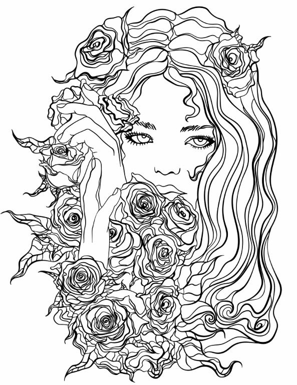 593x768 Pretty Girl With Flowers Coloring Page Recolor App Beautiful