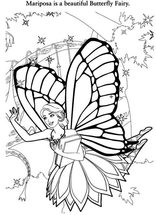 600x827 Barbie Mariposa Is A Beautiful Butterfly Fairy Coloring Pages