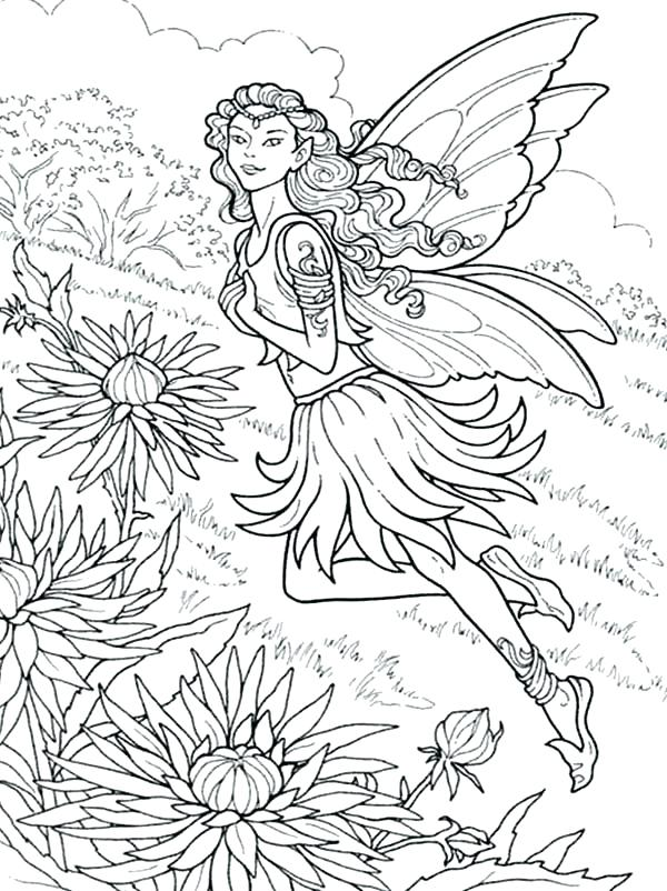 600x802 Fairy Colouring Pages For Kids Beautiful Fairy Of Chrysanthemum