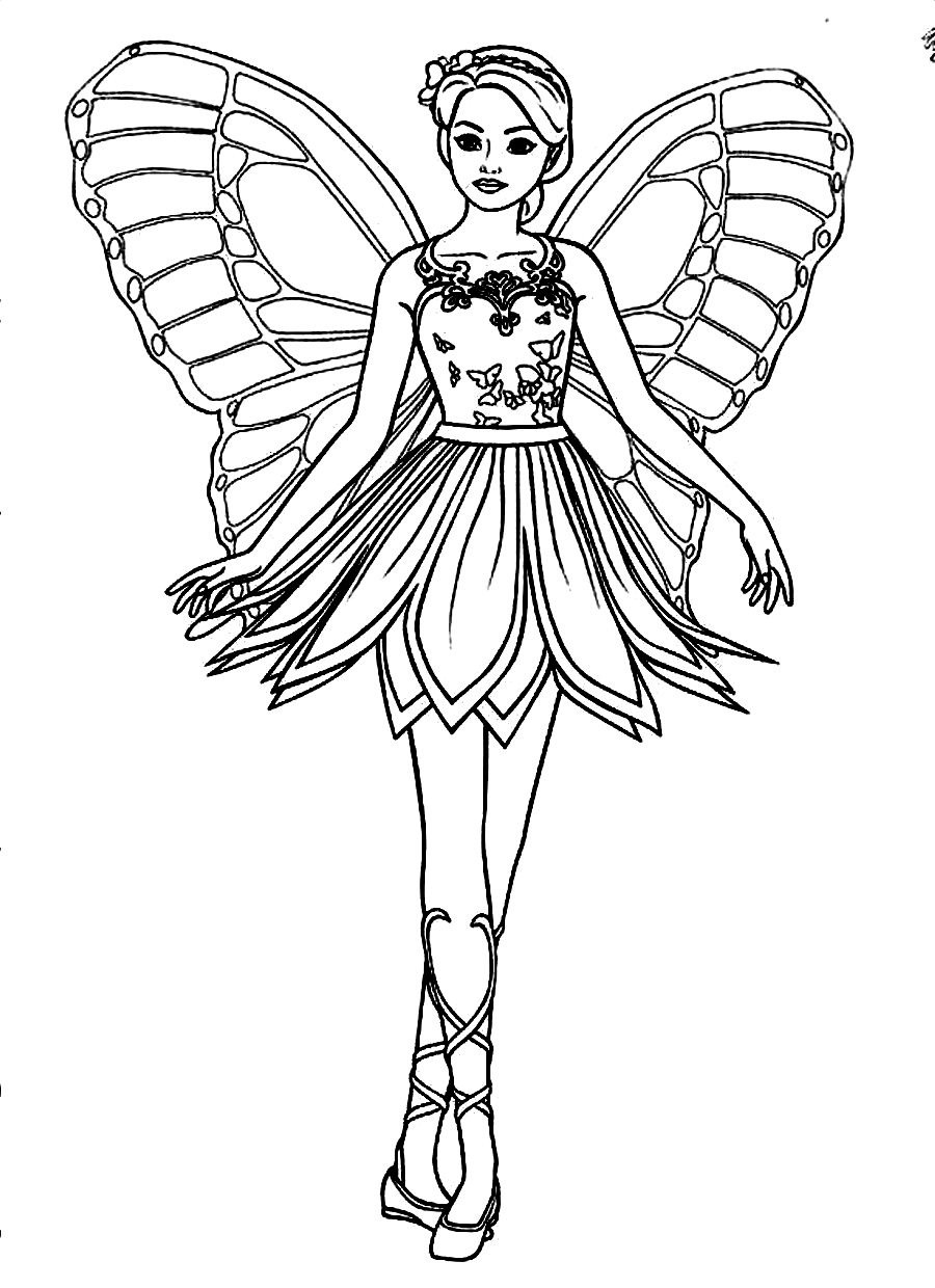 900x1240 Beautiful Fairy Barbie Coloring Page