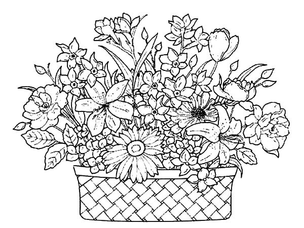 600x450 A Basket Of Flowers Full Of Beautiful Flowers Coloring Pages
