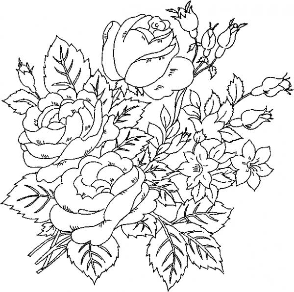 600x596 Clip Art Flowers Coloring