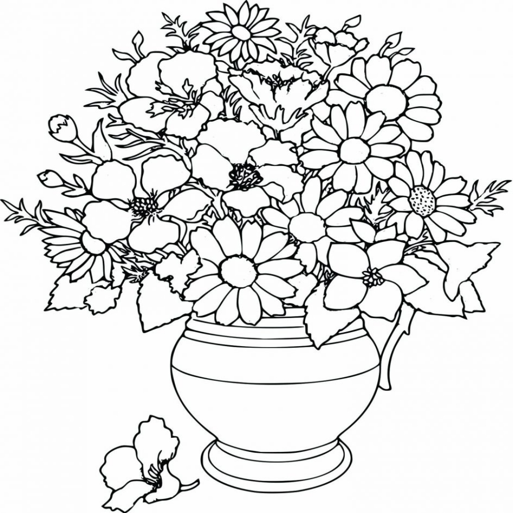 1024x1024 Pretty Flower Coloring Pages Ebcs Regarding The Most