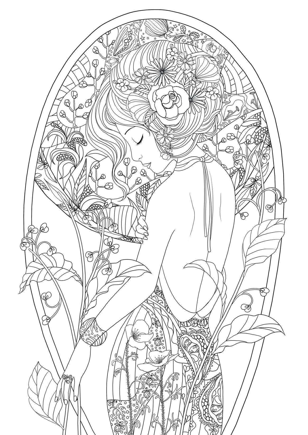 1299x1831 Beauty Beautiful Women Coloring Pages For Adults