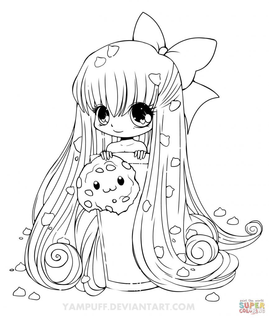 866x1024 Chibi Cookie Girl Cartoon Download Coloring Page