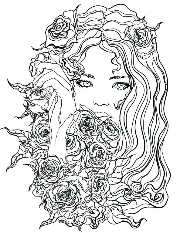 593x768 Pretty Girl Coloring Pages Pretty Girl With Flowers Coloring Page