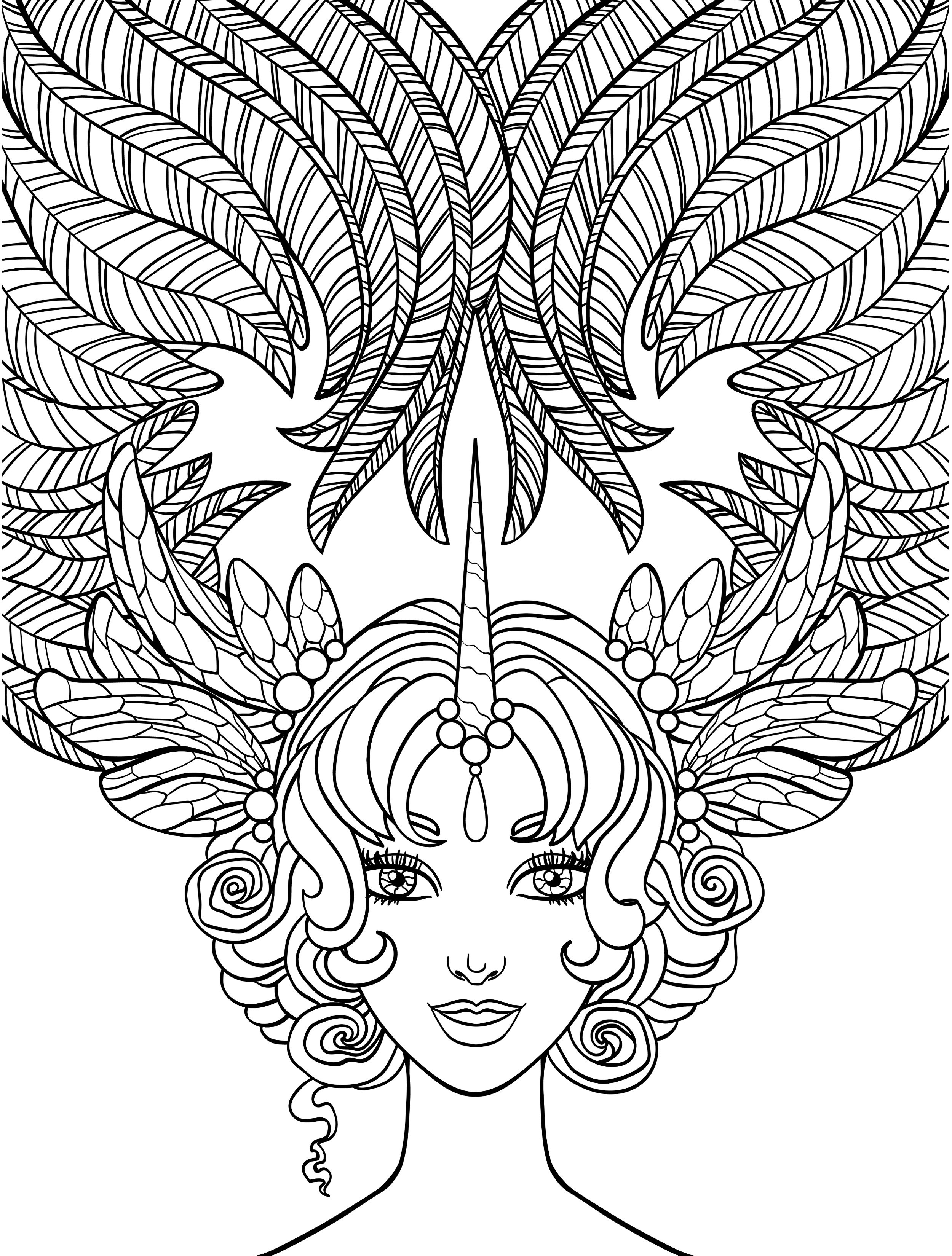 2500x3300 Beautiful Girl Coloring Pages For Adults Printable Coloring Book