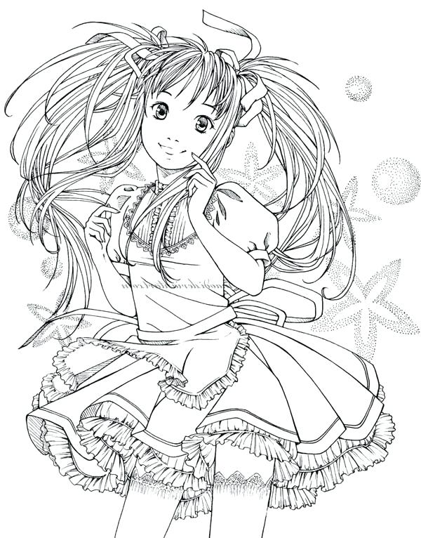 600x766 Beautiful Girl Colouring Pages Best Of Anime Coloring Free