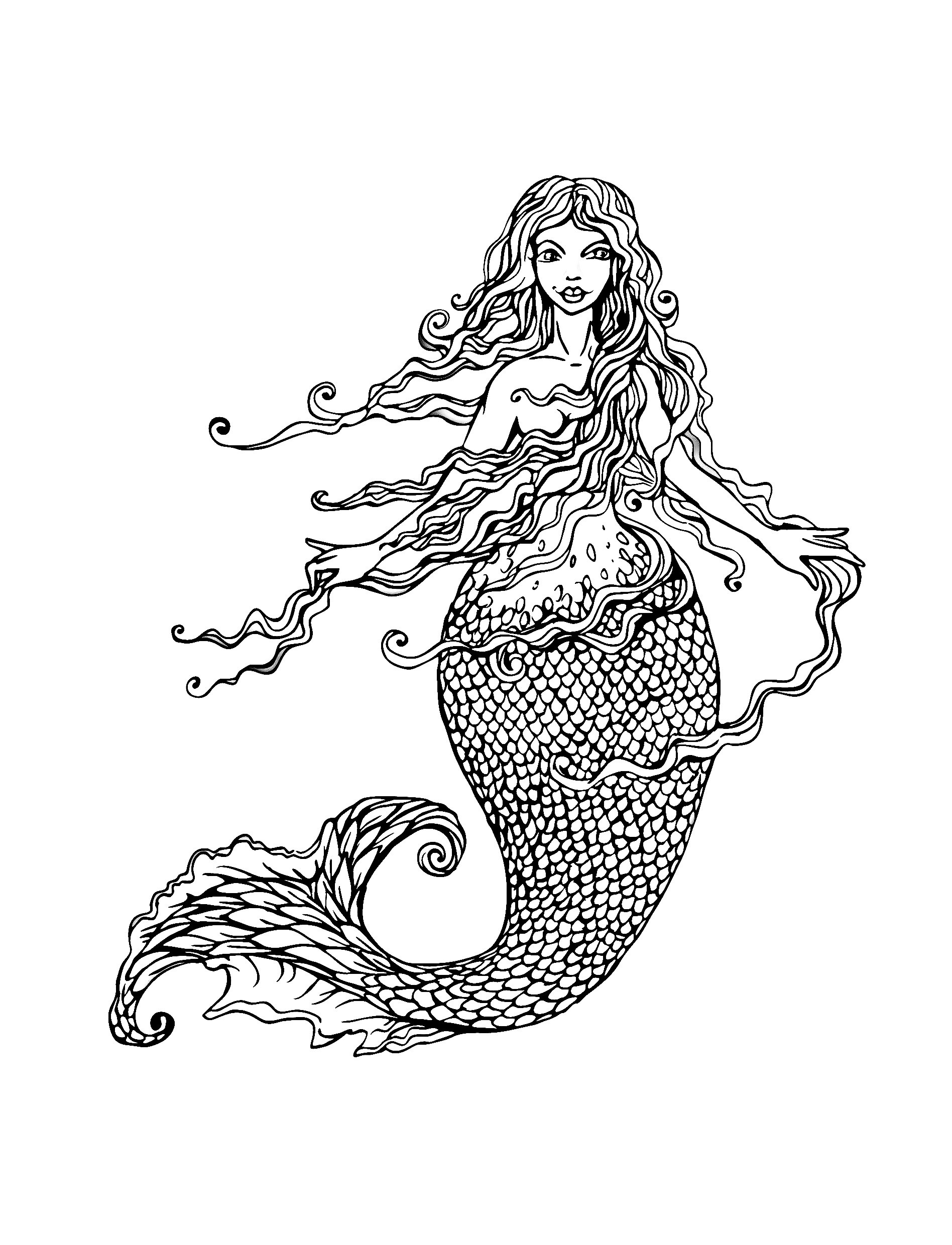 Beautiful Mermaid Coloring Pages At Getdrawings Com Free For