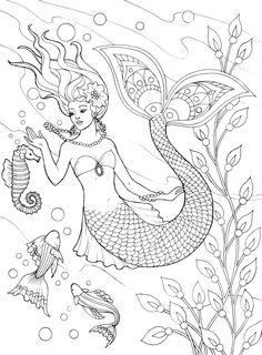 236x320 Free Beautiful Mermaid Adult Coloring Book Image