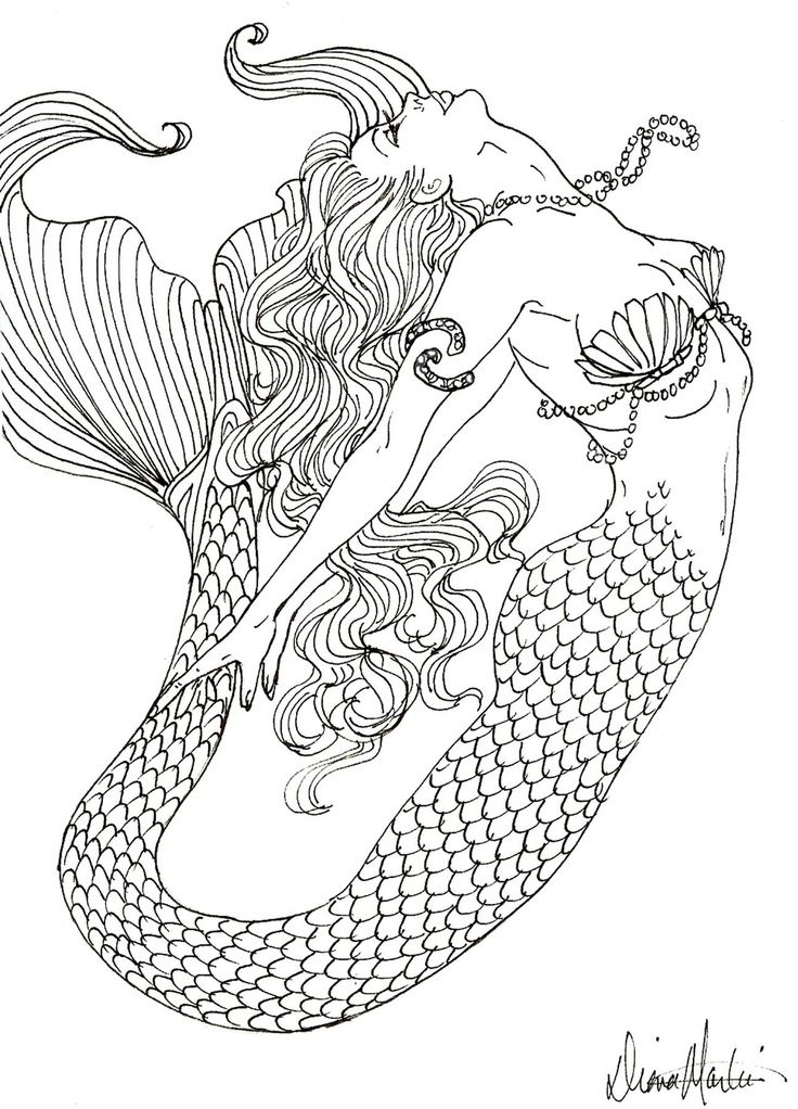 736x1022 Realistic Mermaid Coloring Pages