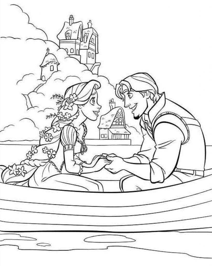 818x1024 New Beautiful Princess Rapunzel And Flynn On A Boat Coloring Page