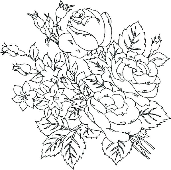600x596 Flower Printable Coloring Pages Flowers Coloring Pages Printable