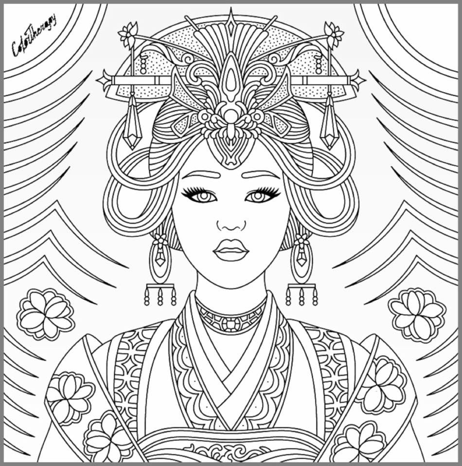 Beautiful Woman Coloring Pages at GetDrawings | Free download