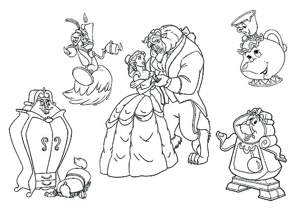 600x424 Beauty And The Beast Coloring Page Beauty And The Beast Coloring