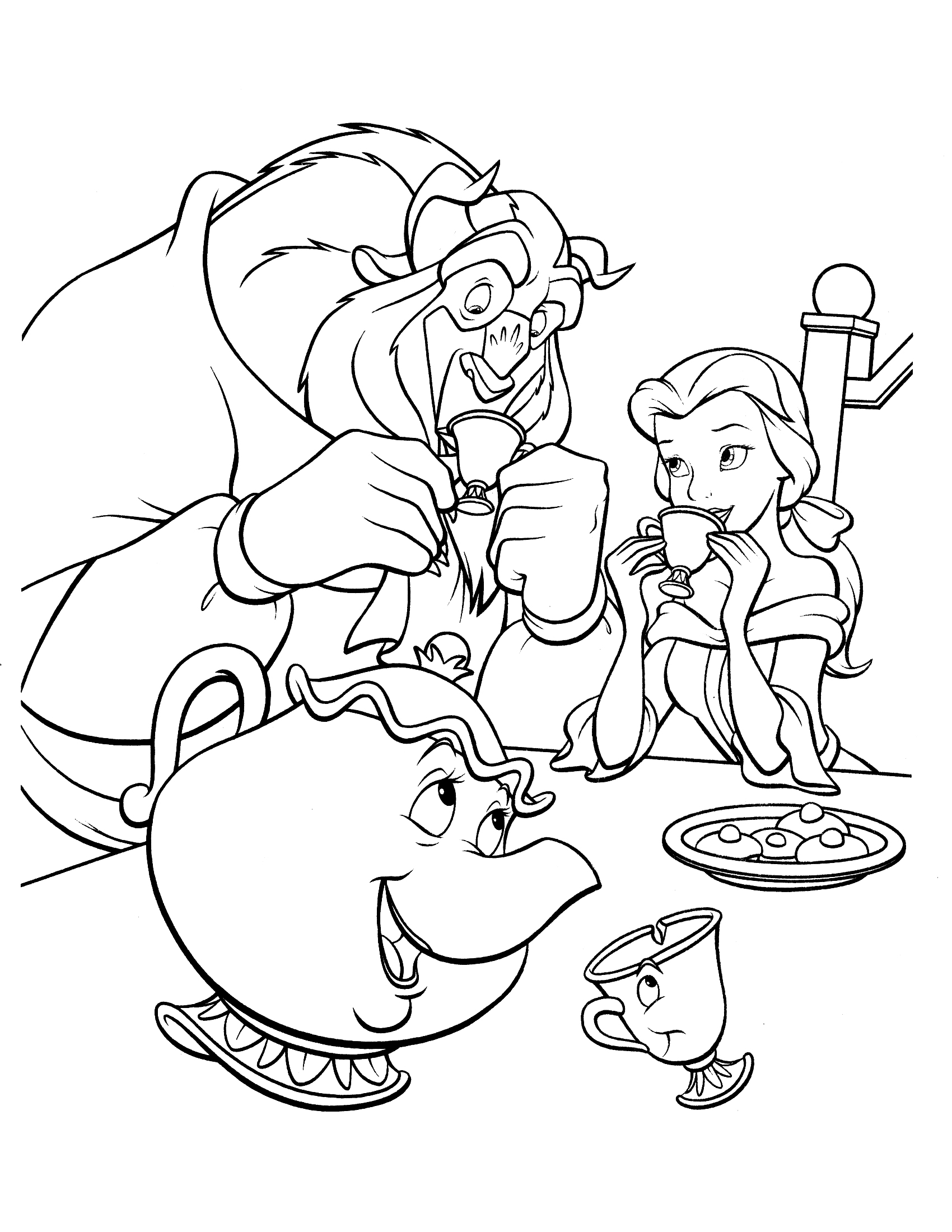 1700x2200 Beauty And Beast Coloring Pages